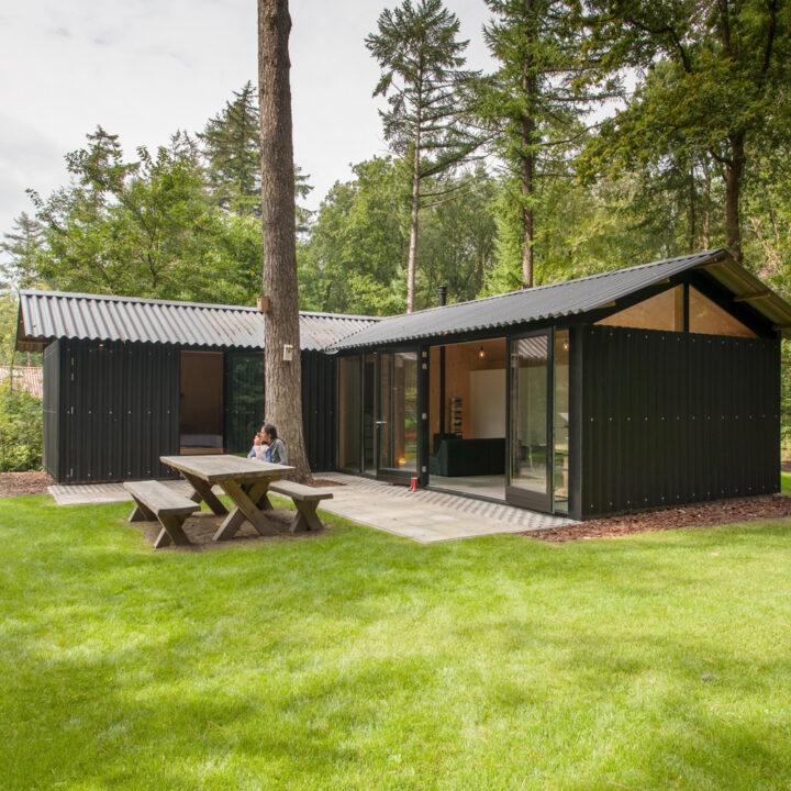 Vakantiehuisje in het bos in het Friese dorp Oudemirdum