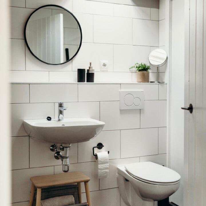 Badkamer in het vakantiehuisje in Helenaveen