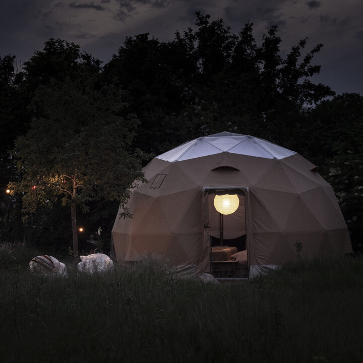 Dome tent by night