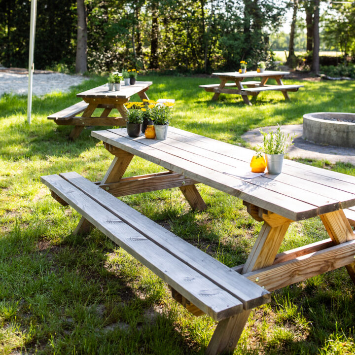 Picknicktafels in het gras bij de blokhut
