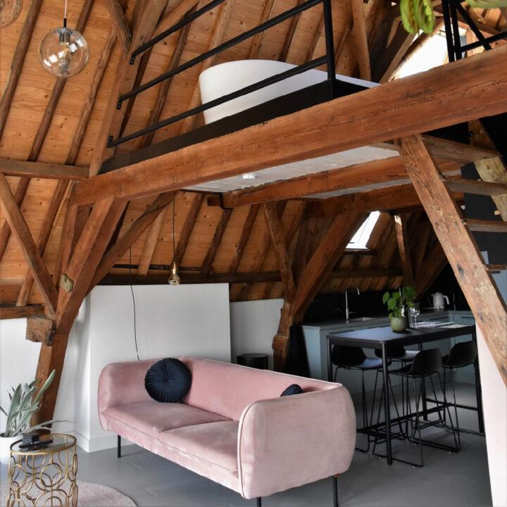 Zithoek met een roze bank in het appartement in Middelburg